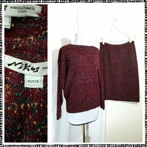 vintage NIKOS hand loomed sweater skirt set M/L