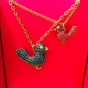Betsey Johnson Gold Tone Pave Pink & Blue Birds