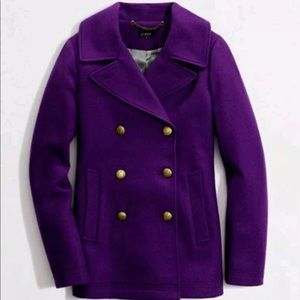 J. Crew Purple Classic Peacoat Wool Blend