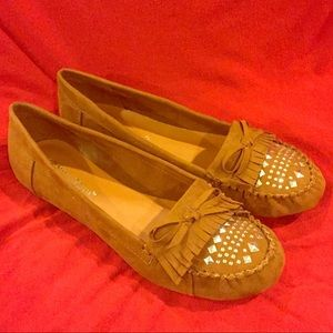 Summer Breeze Faux Suede flats NIB Dark Tan