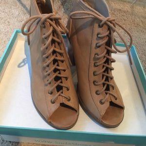 Lace up heel booties