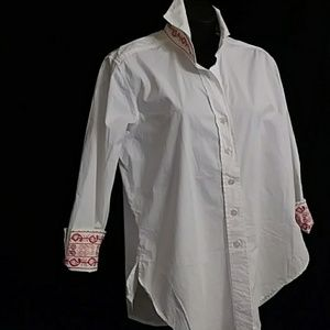 Coldwater Creek white blouse with embroidery-sz S