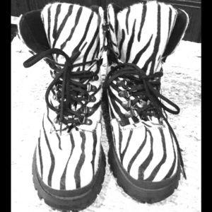 Prada calf hair combat boots