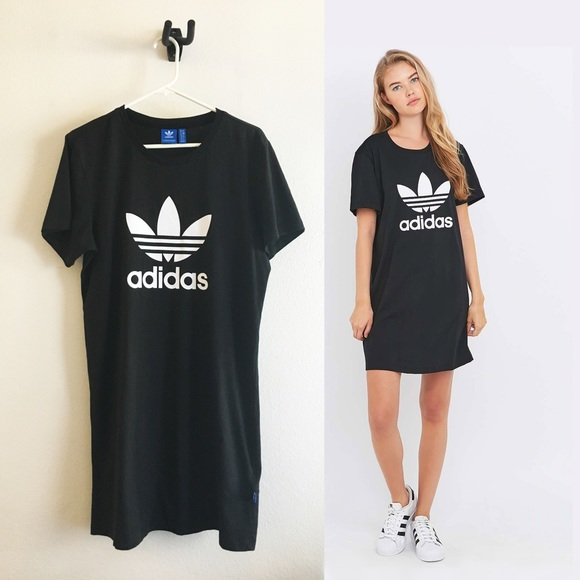 adidas Originals Black Trefoil T shirt Dress