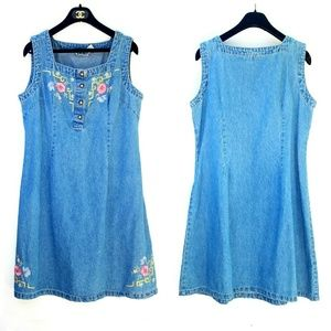 Vintage Denim Embroidered Floral Dress