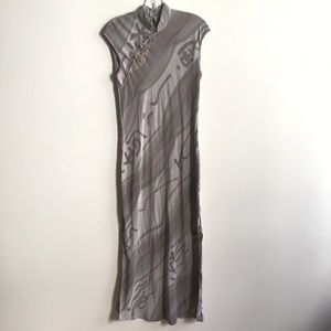Silk Mandarin Gown Gray Taupe Long Dress w/ Slit