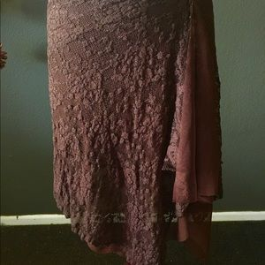 Bebe brown lace pull on skirt