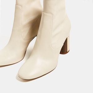 Zara Tan faux leather boots with gold & wood heel