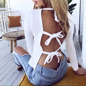 White Long Sleeve Backless 3 Tie String Loose Top