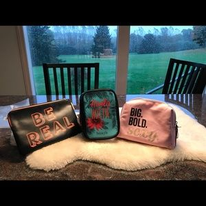 Bundle of 3 Cosmetic bags/ 2 Benefit & 1 Buxom