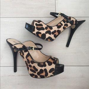 Leopard print genuine calf hair mules