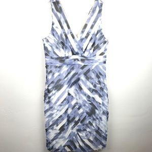 Ann Taylor blue ruffled STAINED midi dress