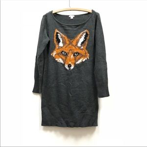 Fox Sweater Dress Size Medium
