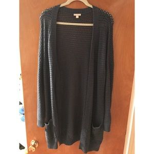 Navy/ blue open front cardigan sweater