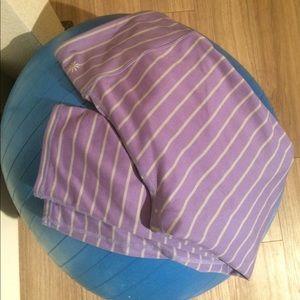 Striped purple Athleta activewear crop pant