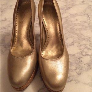 Gold Jessica Simpson heels