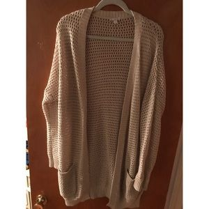 Beige open front cardigan sweater
