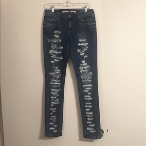 TOPSHOP MOTO SKINNY BLUE JEANS SIZE 8 30X32
