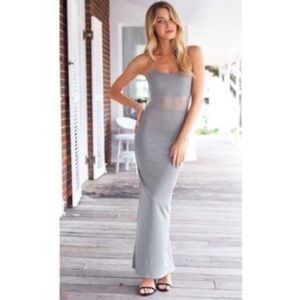 {Sabo Skirt} gray mesh maxi dress