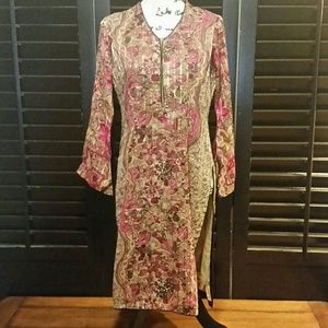 Traditional Asian Style LS Floral Dress