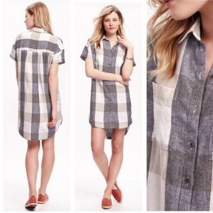 Old Navy Plaid Linen Shirtdress