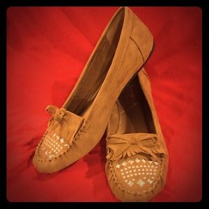 Summer Breeze Faux Suede camel Color flats NIB