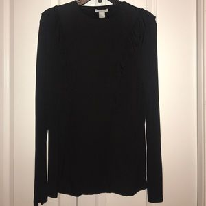 H&M black ruffle long sleeve blouse large