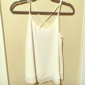 Cross-back white tank top