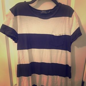 RL polo navy and white striped dress