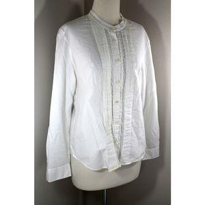 J. Crew Sz 6 White Pintucked Tuxedo Blouse Shirt