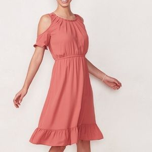 NWT lcLauren Conrad cold shoulder pleat neck dress
