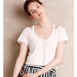 Anthropologie Left of Center cut out tee RED