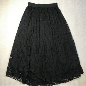 LuLaRoe Solid Black Lace Lucy Maxi Skirt