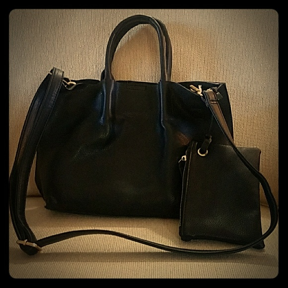 Nordstrom Handbags - 10 in x 12 in Black fake leather tote with strap