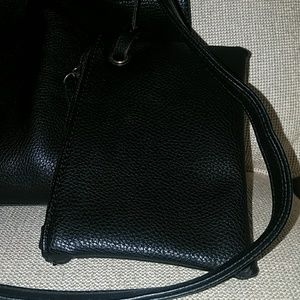Nordstrom Bags - 10 in x 12 in Black vegan leather tote with strap