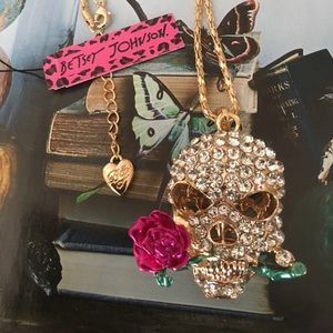 Betsey Johnson Crystal Skull Rose Necklace