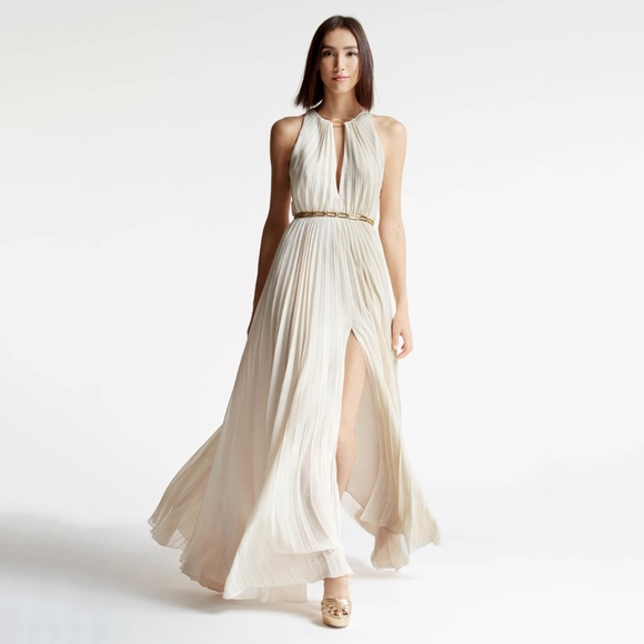 b14ef8216f halston • parchment gold arch belted pleated dress