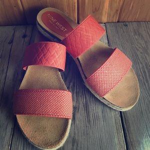 Nine West Rust slide-on sandals. NWT