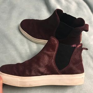maroon zara high top faux hair sneakers