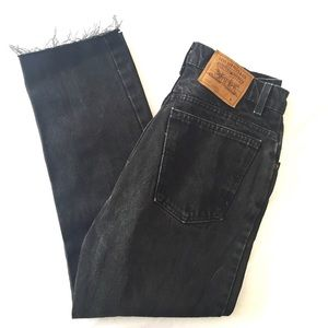 Levi slim fit tapered leg crop black jeans