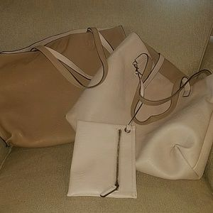 Nordstrom's pink and tan reversible tote
