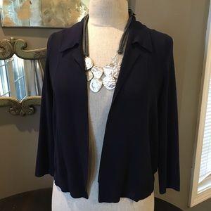 Anthropologie Moth Navy Blue Knit Jacket Sz S
