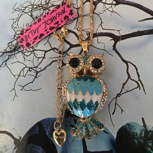 Betsey Johnson Crystal Owl Necklace
