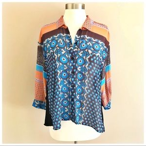 •Clover Canyon• Silk Blend Button Up Sheer Blouse
