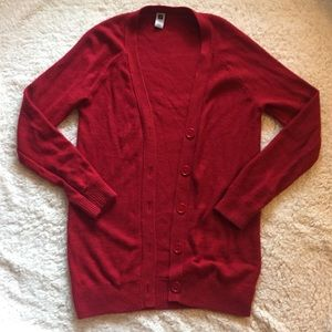 Gap Red button up long cardigan