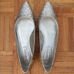 Zara Silver Glitter Flats