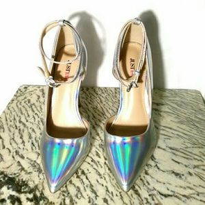 Justfab holographic silver heels