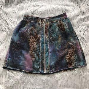 VINTAGE 90's Funky Leopard Print Zip Skirt