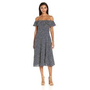 betsey johnson • polka dot midi off shoulder dress