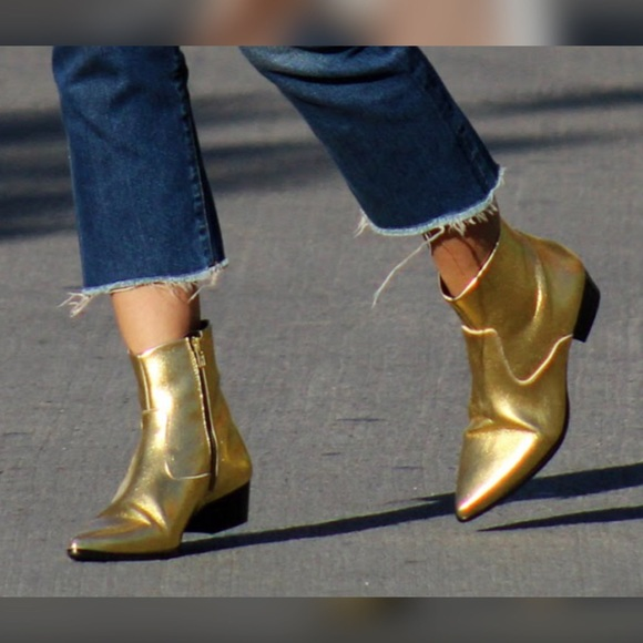 super cheap large discount special for shoe Zara Gold Ankle Boots NWT